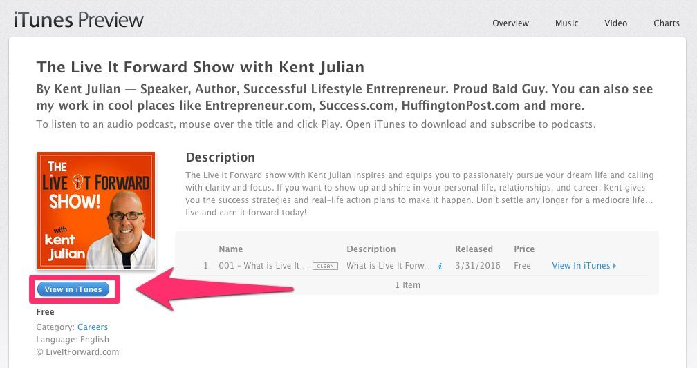 View in iTunes - The Live It Forward Show with Kent Julian