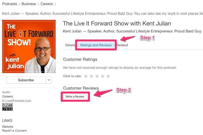 Rating & Reviews - The Live It Forward Show with Kent Julian